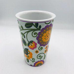 Longaberger Pottery Vase Orange and Purple